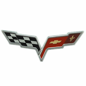 Rear-Crossed-Flags-Badge-Logo-Replacement-Fits-Corvette-2005-2008-GM-10370896