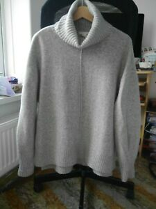 H-amp-M-Grey-Chunky-Knit-Polo-Neckline-Jumper-Top-Size-EUR-S