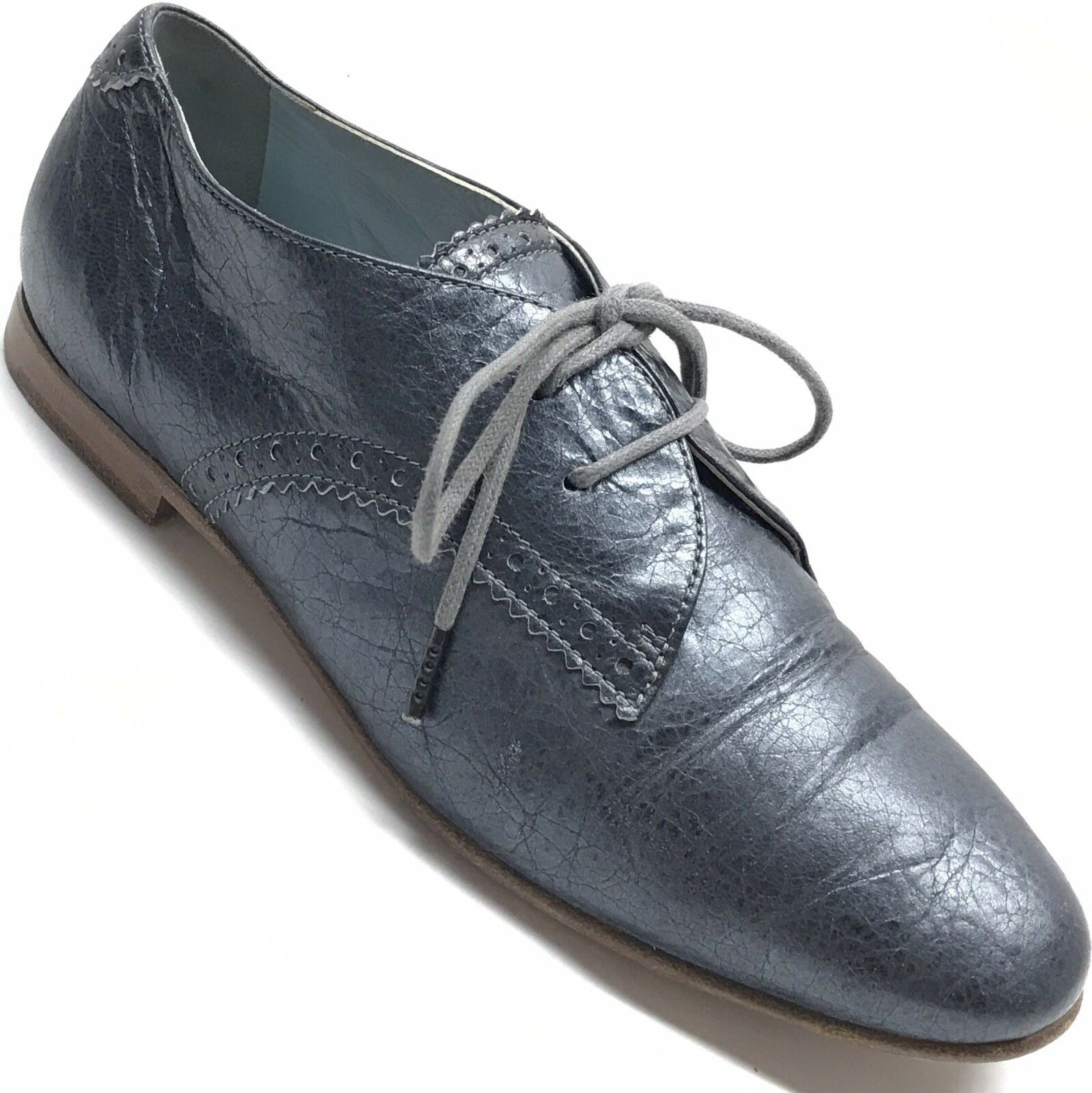 BALENCIAGA Paris Womens Distressed Leather Oxford Lace Up Flat shoes 36 US 6
