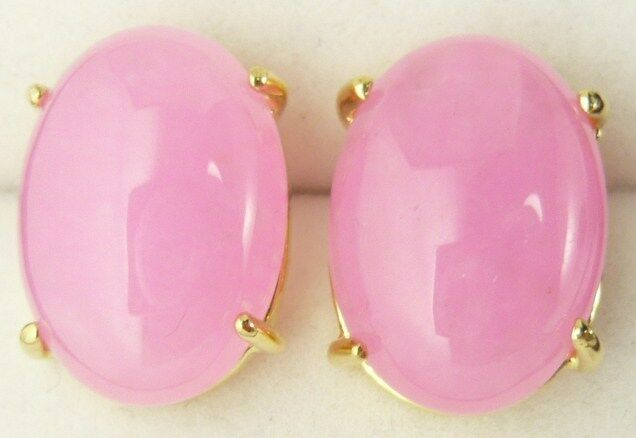2x Jade pink Cabochons oval 18x13mm #421