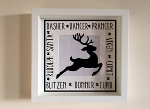 IKEA RIBBA Box Frame Personalised Vinyl Wall Art Christmas Reindeer names