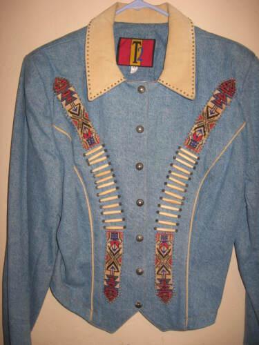 Denim Sz T2 Jacket Womens hånd Southwestern beaded Style 12 fqwwtRxP