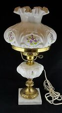 #1 Vintage Fenton Violets In The Snow Student Lamp Signed - Working