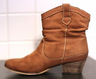 Damen Leder Stiefellette Absatz Boots Schuhe braun Gr. 37