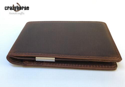 Brown Handcrafted Rfid Genuine Leather Slim Wallet by Crazyhorse Handcrafts
