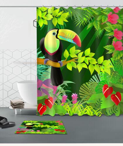 """72//79/""""Toucan Jungle Flower Bathroom Waterproof Fabric Shower Curtain/&Mat /&12Hook"""