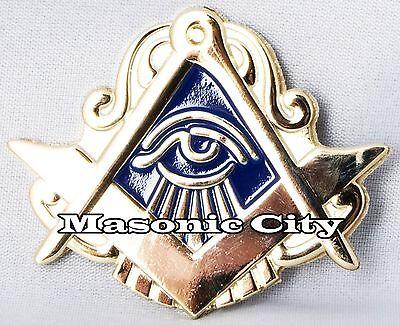 Z-143 Gold/Blue All Seeing Eye Auto Emblem Masonic Car Lodge Mason Blue AF&AM
