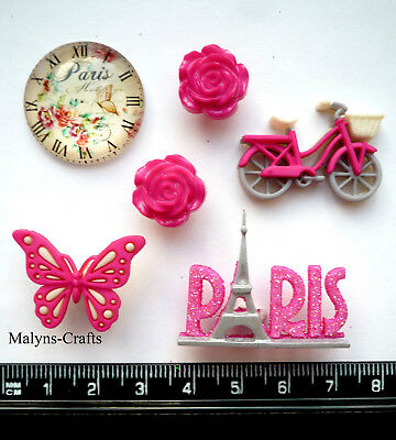 40pcs Stamp Wooden Buttons Flowers Eiffel Tower landscape pattern Sewing 38mm