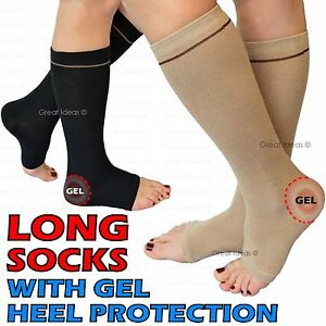 4223a60271 Gel Enforced HEEL Ankle SOCK Pain Protector Achilles Compression Dry ...