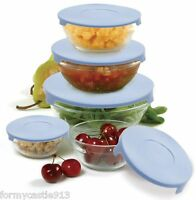 Norpro 1018 Nesting Glass Storage Mixing Bowl 10 Piece Set With Blue Lids on sale