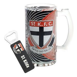 St-Kilda-Saints-AFL-Beer-Stein-Glass-amp-Opener-AFL-OFFICIAL-MERCHANDISE