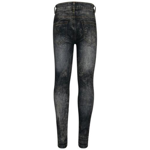 Kids Girls Stretchy Jeans Black Denim Skinny Pants Biker Fit Trousers 5-13 Years