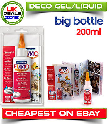 Big Bottle Fimo Liquid Polymer Clay Deko Gel 200ml Bakable Transfer Medium