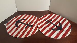 NEW-Set-of-2-Coastal-Nautical-Anchor-Placemats-16-034-Round-Red-White-Blue