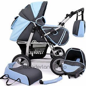 Baby-pram-3in1-stroller-pushchair-Buggy-Travel-System-103cols-FAST-FREE-P-amp-P