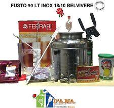 KIT FERMENTAZIONE BIRRA CON FUSTO 50 LT INOX 18/10 ACCESSORI COMPLETO + MALTO