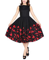 Hepburn Style Dress Black Red Floral 1950s 1960s Rockabilly Swing Evening Pinup