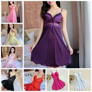 Women-039-s-Ladies-Night-Dress-Nightgown-Satin-Silk-Lace-Lingerie-Pajamas-Sleepwear