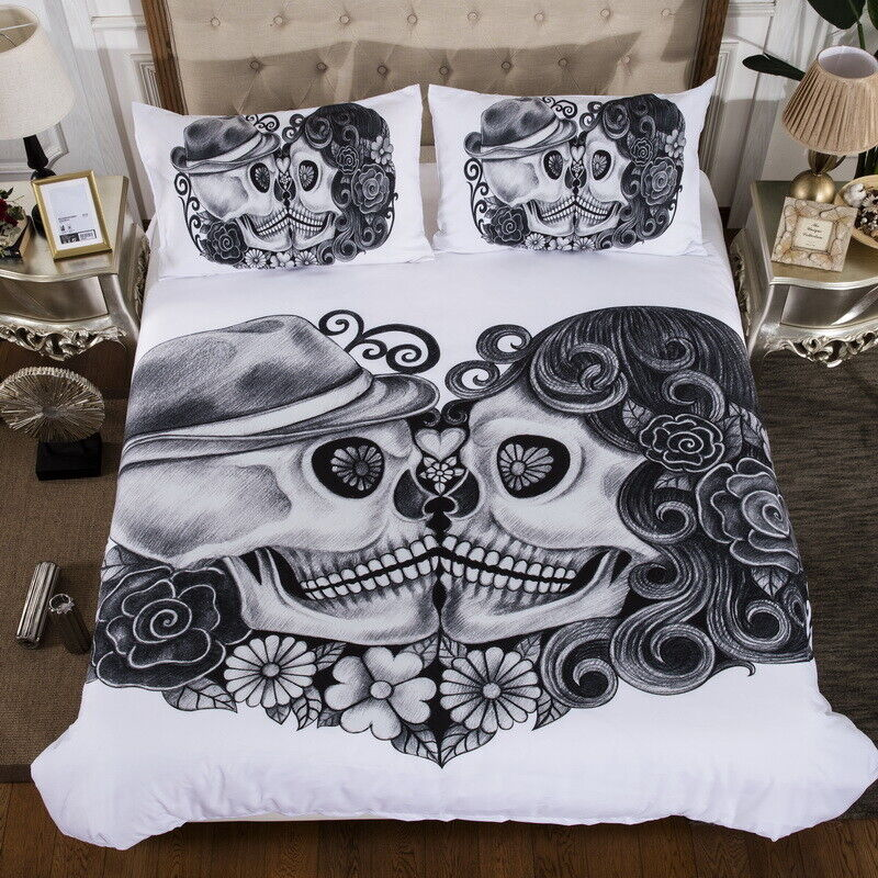 Skull Floral White Quilt Cover Duvet Cover Set Twin Queen King Size Bedding Set