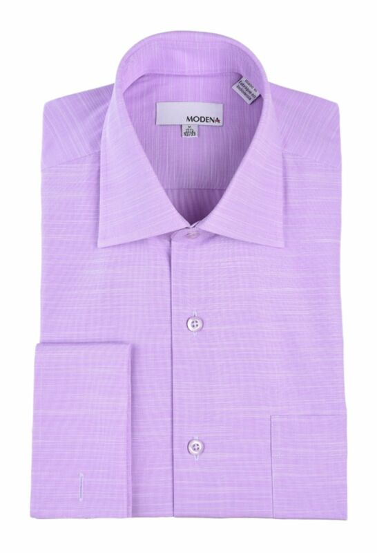 Mens 15 1/2 32/33 Regular Fit Purple Heather French Cuff Spread Collar Cotton