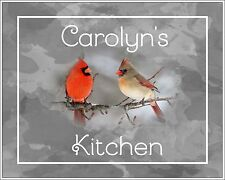 Red Gray Photo Art Cardinals Wall Decor Kitchen Bird Personalized Picture Gift