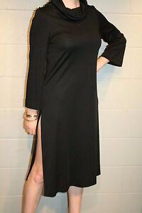 S-Black-Knit-Vtg-70s-California-Girl-Tunic-Dress-Cowl-Bell-Sleeve-Side-Slit-Hem
