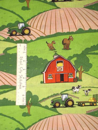 John Deere Nursery Baby Tractor Barn Cotton Fabric Springs CP40145 By The Yard