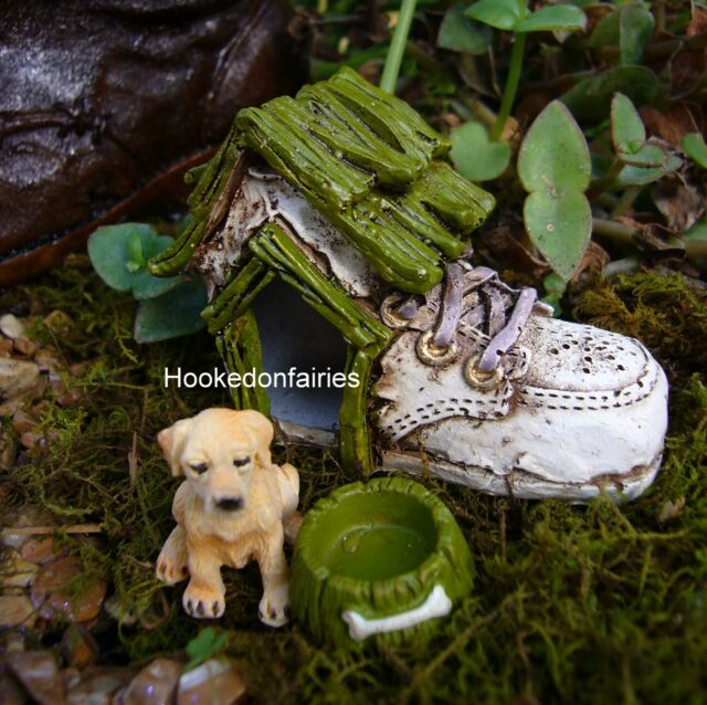 Baby Shoe Boot Dog House and Bowl  Miniature Fairy Hobbit Gnome Garden