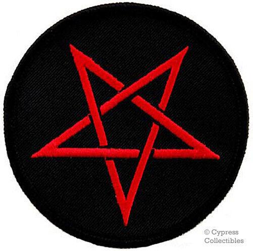 Red Pentagram Embroidered Patch Wicca Biker Devil Pentacle Satan