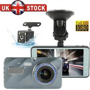 4/'/' HD 1080P Dual Lens Car DVR Front and Rear Camera Video Dash Cam Recorder UK