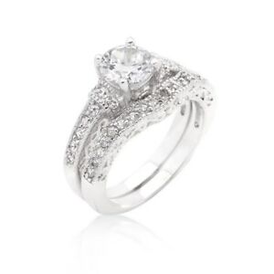 2 5 Carat Cz Round Cut Wedding Engagement Ring Set Size 5 6 7 8 9 10