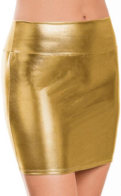 Sexy Women Metallic High Waist Shiny Bodycon Pencil Tight Mini Skirt Clubwear