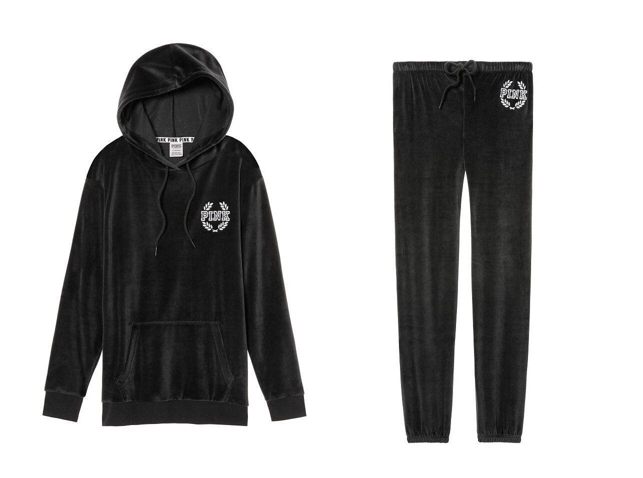 VICTORIA& 039;S SECRET ROSE VELOURS Varsity Pull-over à capuche & Classic Pant Set Noir XS