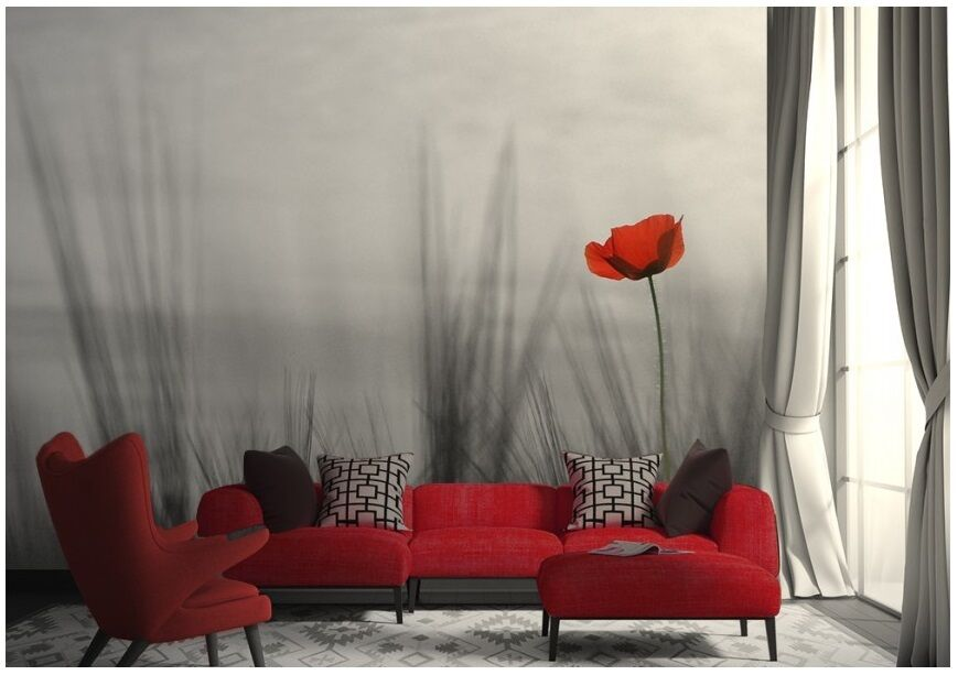 254x183cm Large Wall mural photo wallpaper Lonely red poppy flower bedroom decor