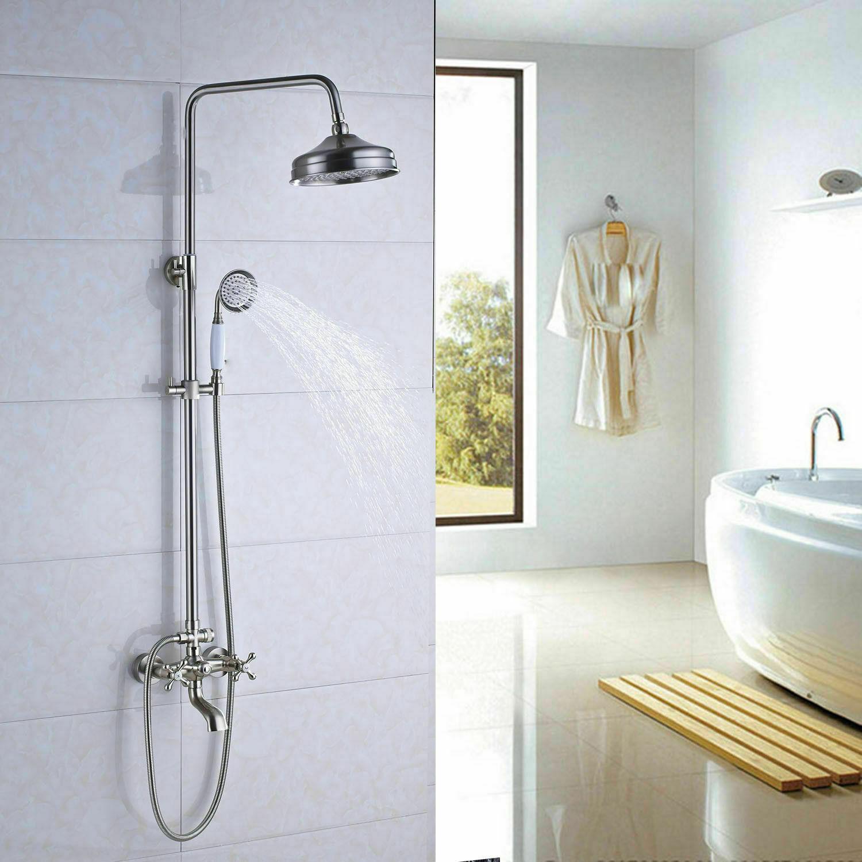 8 Rain Shower Faucet Set Hand Shower Tub Spout Mixer Tap Combo Wall Mount Spray