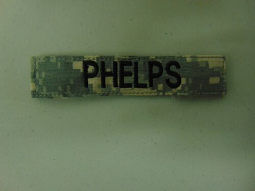 MILITARY US ARMY PATCH FOR ACUS DIGITAL HOOK AND LOOP BACK NAME TAPE WITH PHELPS