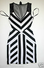 NWT bebe black white contrast v neck mesh cutout open back top dress M medium