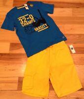 Gap Kids Boys Small (6-7) Outfit. Blue Basketball Shirt & Yellow Shorts.