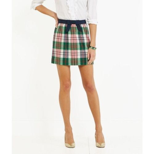 135 Vineyard Vines Tartan Plaid Wool Skirt 2 Grosgrain Bow
