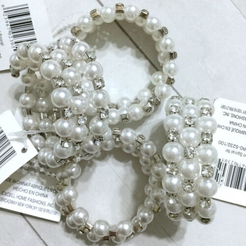 Beaded Pearl Napkin Rings Set 4 Spiral Rhinestone Round Holiday Easter Christmas
