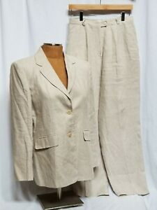 Talbots-Women-039-s-Tan-100-Irish-Linen-2-Piece-Suit-Pants-Jacket-Size-10