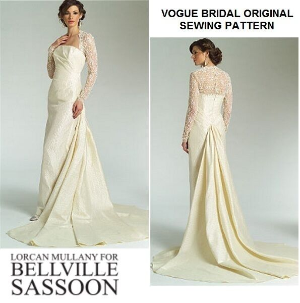 Vogue V2906 Bellville Sassoon Wedding Lace Inset Dress Bridal Gown ...