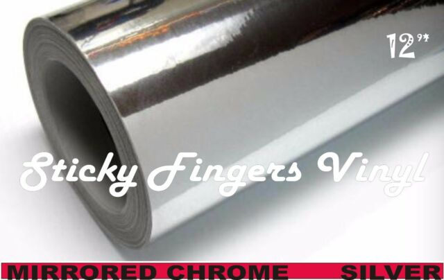 """5 ft Roll SILVER MIRRORED Chrome ADHESIVE Outdoor Vinyl 12"""" Crafts DECALS"""