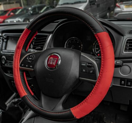 Red Leather Look Stitched Steering Wheel Cover for Renault Clio All Models