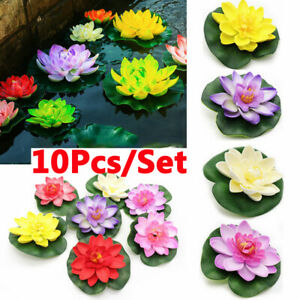 1-10Pcs-Artificial-Lotus-Fake-Water-Lily-Floating-Flower-Garden-Pool-Plant-Decor