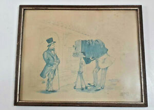 Framed drawing two victorian gentlemen taking a photo. Signed W.Beek