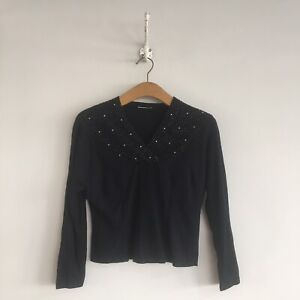 True-Vintage-1930s-40s-Black-Wool-Beaded-Top-UK8-10
