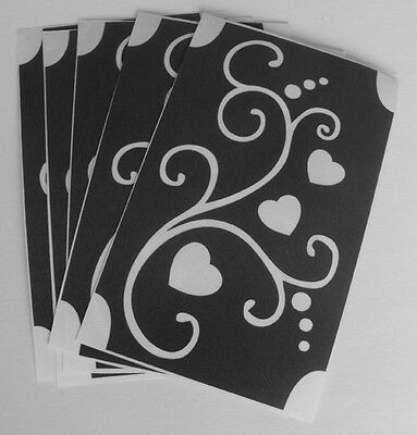 bm245 GLITTERTATTOO 5x stencil little hearts swirls cool glitter tattoo L@@K