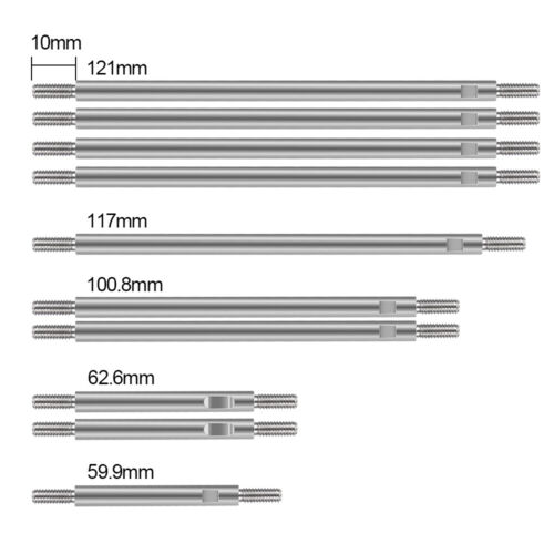 10X Stainless Steel 324mm Radstand Pull Link Rods für Traxxas TRX-4 1//10 RC Car