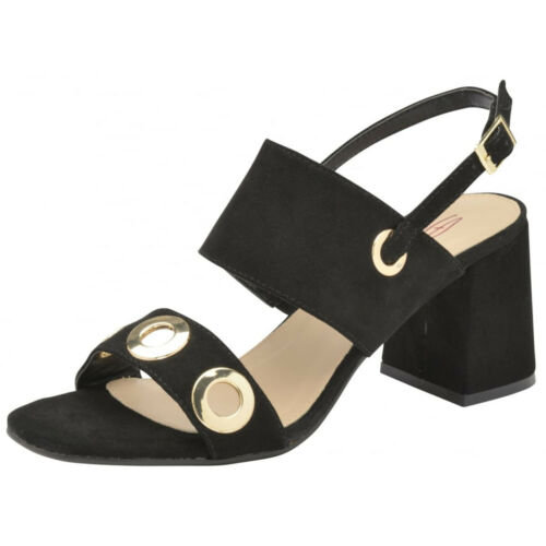 WOMENS DOLCIS NAOMI BLACK ANKLE OPEN-TOE SANDALS STRAPPY HOLIDAY SHOES UK 3-8